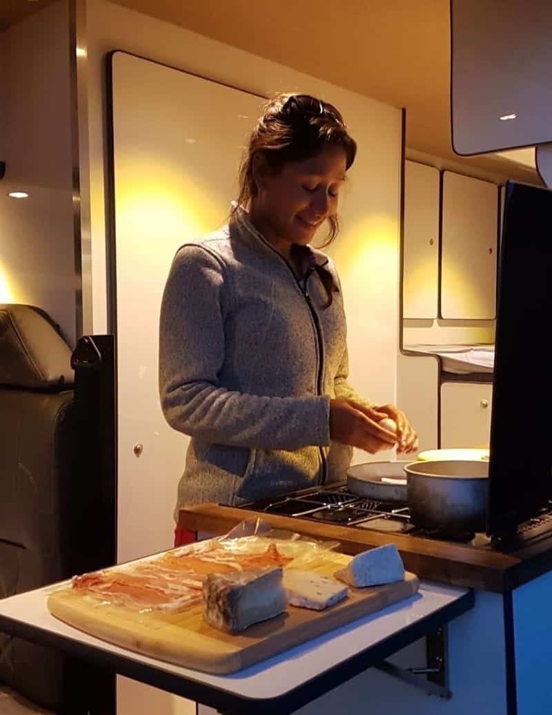 Cooking in a converted Mercedes Sprinter